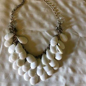 White teardrop statement necklace